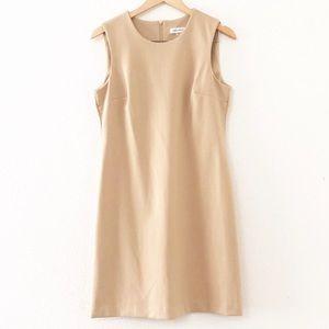 Calvin Klein Camel Ponte Knit Sleeveless Dress NWT